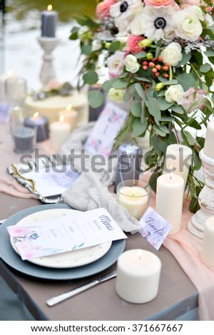 Winter wedding details of table decorations