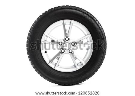 winter wheel isolated on white - stock photo