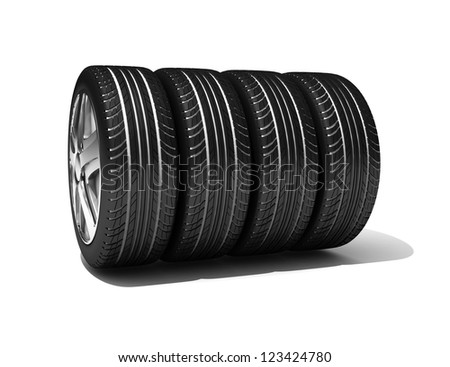 Winter Wheels isolated on white. 3d illustration.
