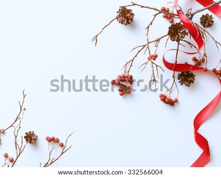 Winter white background with red berries and pine cones - stock photo