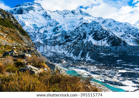 Winter wilderness extreme terrain landscape with glacier, ice cliffs, snow mountains. Mueller Glacier, Mount Sefton, Aoraki-Mount Cook National Park, New Zealand - stock photo