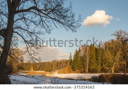 Winter with little snow countryside in the vicinity of St. Petersburg, Russia