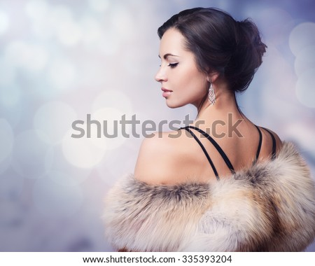 Winter Woman in Luxury Fur Coat - stock photo