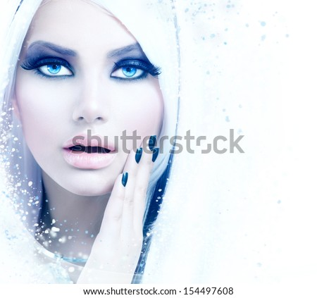 Winter Woman Portrait. Snow. Beauty Fashion Model Girl with White Hair and Blue Eyes closeup. Make up. Smoky Eyes. Isolated on a White Background - stock photo