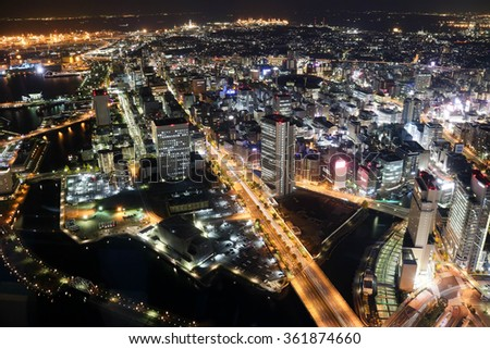 Winter wonderful night view in Yokohama?in Japan - stock photo