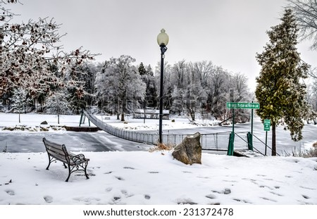 Winter Wonderland. City park transformed into a winter wonderland by new fallen snow. Croswell, Michigan.  - stock photo