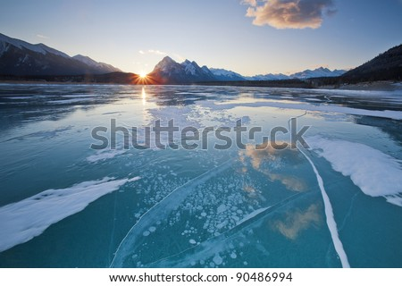 Winter Wonderland in Abraham Lake, Alberta, Canada - stock photo