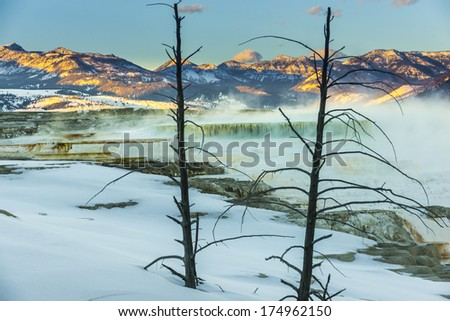 Winter Yellowstone Landscape, Geyser at Sunset - Yellowstone National Park  - stock photo