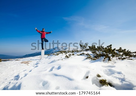 Winter yoga session in beautiful place - Beskid mountains, Poland. Babiagora National Park