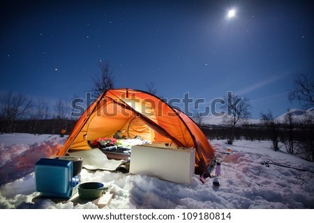Wintercamping on the Kungsleden in Sweden - stock photo