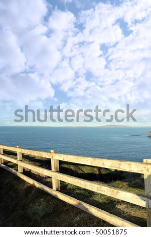 winters view at ballybunion cliffside walk with atlantic view - stock photo