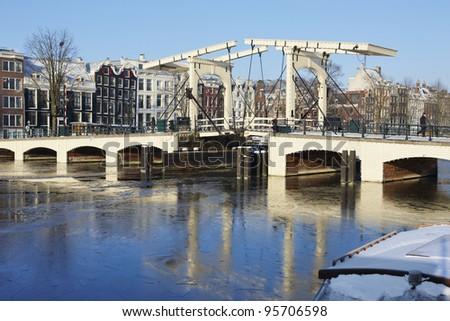 Wintertime in Amsterdam, Netherlands - stock photo