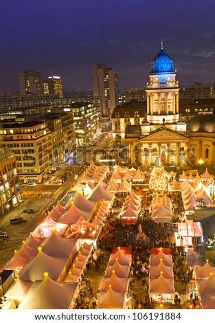 winterzauber christmas market on gendarmenmarkt berlin germany - stock photo