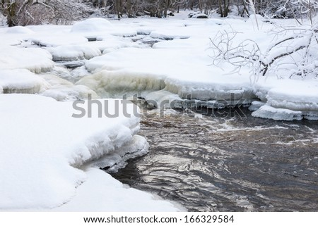 Wintry river landscape with snow - stock photo