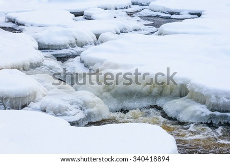 Wintry river landscape with snow