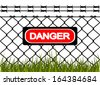 Wire fence with barbed wires. Illustration - stock vector
