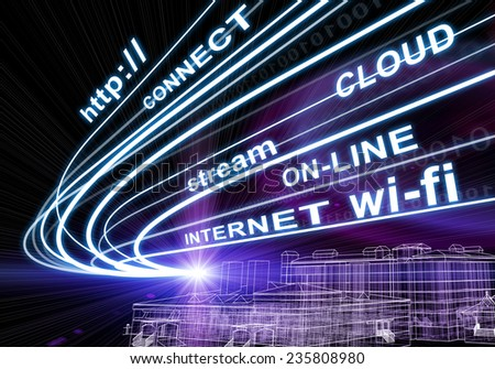 Wire-frame building and stream of light beams with inscribed binary code and words http, connect, cloud, stream, on-line, internet, wi-fi on dark background. Communication concept. - stock photo