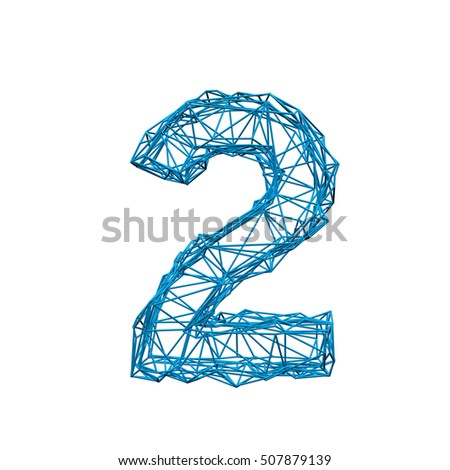 Wire Frame Geometric Number 1 3 D Stock Illustration 507879139 ...