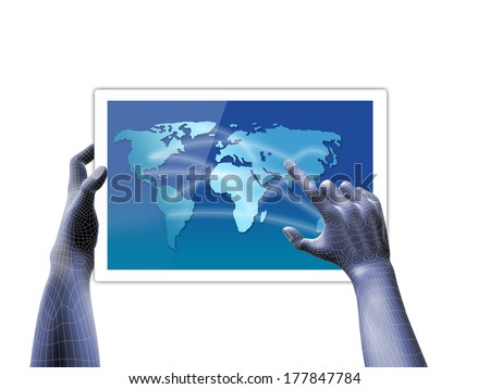 Wire frame hand with touch screen concept