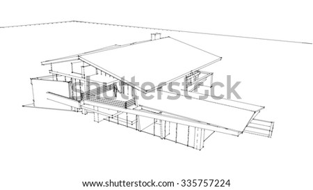 wire frame modern house