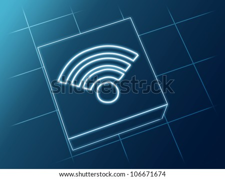 Wire glowing 3d boxes with Wi-FI sign - stock photo