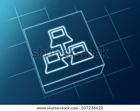 wire glowing Network sign over box and net - stock photo