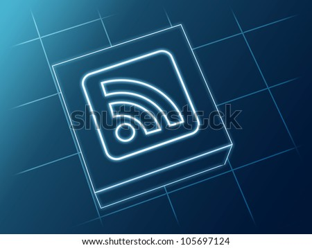 wire glowing rss news sign over box and net - stock photo