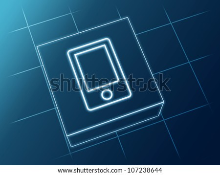 wire glowing Smartphone sign over box and net - stock photo