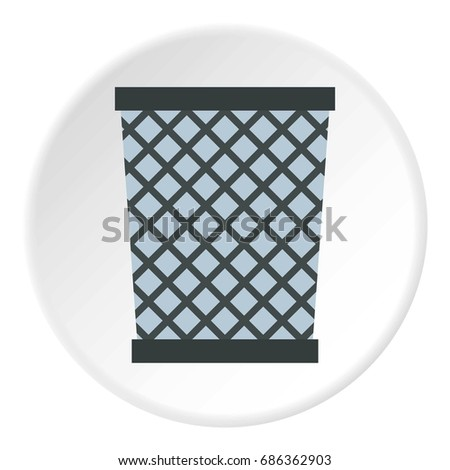 Wire metal bin icon in flat circle isolated  illustration for web