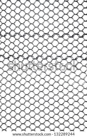 wire net isolated white bachground, horizontal - stock photo