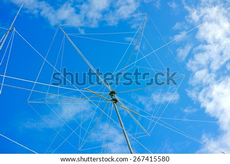 Wire rotating directional antenna on a background of blue sky. The quality of medium format - stock photo