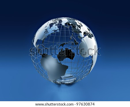 Wired earth globe - stock photo