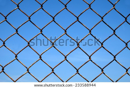 wired fence on sky background