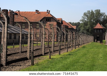 wired fences of concentration camp Auschwitz in Oswiecim, Poland