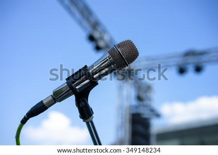 Wired microphone stand on the outdoor venue