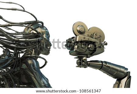 Wired robot under the lens of old-styled camera / Cyborg with cables from head gives interview