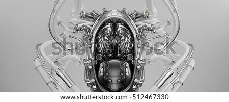 Wired white robotic eternal organ - brain 3d render / Connected robotic brain 3d illustration