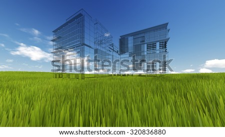 Wireframe Building on green grass and blue sky. Extremely high detailed quality render. Copyspace. Green landscapes collection - stock photo