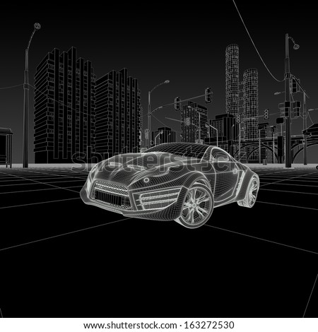 Wireframe car - stock photo