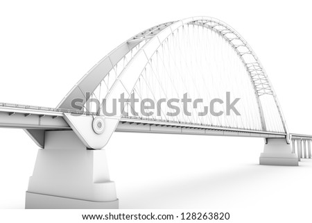 wireframe 3d  render of a bridge - stock photo