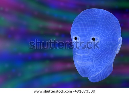 Wireframe 3D rendering of a man's head in a cyberspace vortex