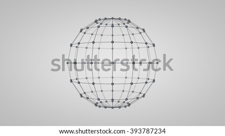 Wireframe mesh polygonal sphere - Sphere, Connection, Computer Network, Wire Frame, Three Dimensional - stock photo