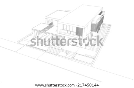 Wireframe perspective of house - 3D render of a building