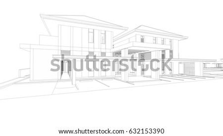 Sketch Modern House Stock Illustration  Shutterstock - Modern house sketch