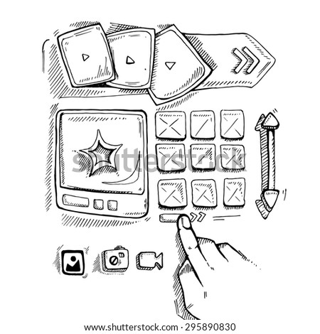 Wireframe UI Kit. Web design portfolio sketch elements. Hand press navigation buton - stock photo