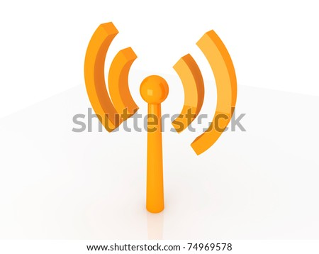 Wireless Antenna. 3D rendered Illustration. Isolated on white.