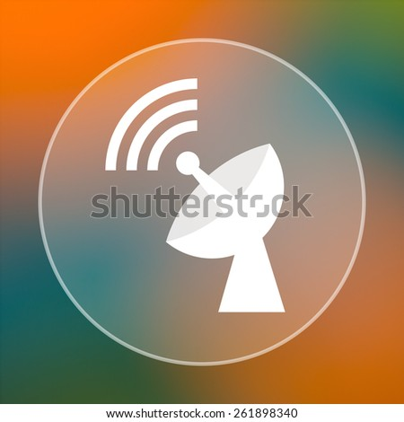 Wireless antenna icon. Internet button on colored  background.  - stock photo