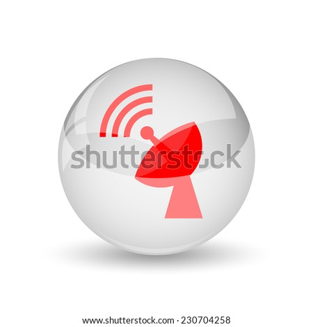 Wireless antenna icon. Internet button on white background.  - stock photo