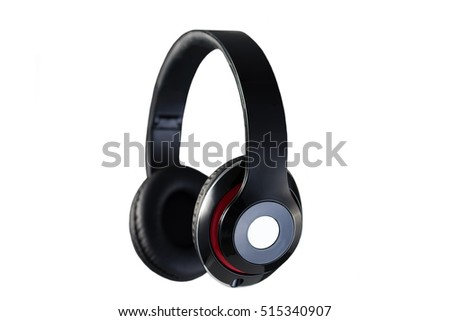 Wireless black headphones  side view isolated on white background