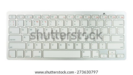 Wireless bluetooth keyboard with english alphabet isolated at white